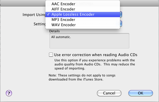 Importing cd to itunes using apple lossless encoder to archive.